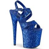 Blå 20 cm FLAMINGO-897LG glitter platå high heels