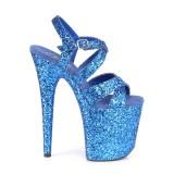 Blå 20 cm FLAMINGO-897LG glittriga klackar platå klackar skor