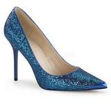 Blå Glitter 10 cm CLASSIQUE-20 stora storlekar stilettos skor
