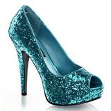 Blå Glitter 13,5 cm TWINKLE-18G Höga Platåpumps Peep Toe