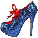 Blå Glitter 14,5 cm Burlesque TEEZE-10G Platform Pumps Skor