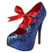 Blå Glitter 14,5 cm TEEZE-10G Concealed burlesque spetsiga pumps med stilettklackar