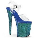 Blå Glitter 20 cm FLAMINGO-808LG Platå Högklackade Sandaler Skor