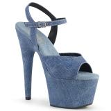 Blå Konstläder 18 cm ADORE-709WR högklackade sandaletter