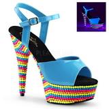 Blå Lack 15 cm DELIGHT-609RBS Högklackade Sandaler Neon Platå