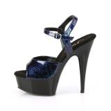 Blå Lackläder 15 cm DELIGHT-609SP pleaser platåsandaletter för kvinnor