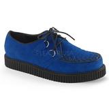 Blå Mocka 2,5 cm CREEPER-602S Platå Creepers Skor för Män