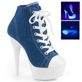 Blå Neon 15 cm DELIGHT-600SK-02 canvas sneakers med hög klack