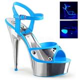 Blå Neon 15 cm DELIGHT-609NC Högklackade Sandaler Krom Platå