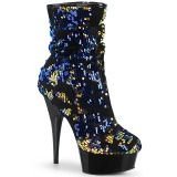 Blå Paljetter 15 cm DELIGHT-1004 pleaser platåstövletter - högklackade boots