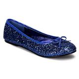 Blå STAR-16G glitter ballerinaskor med platta klack