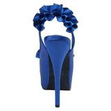 Blå Satin 14,5 cm Burlesque TEEZE-56 Platå Högklackade Sandaler Skor