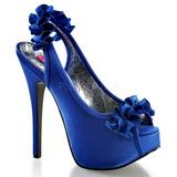 Blå Satin 14,5 cm TEEZE-56 Platå Högklackade Sandaler Skor