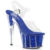 Blå glittriga 18 cm Pleaser ADORE-708G pole dance skor