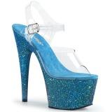 Blå glittriga 18 cm Pleaser ADORE-708LG pole dance skor