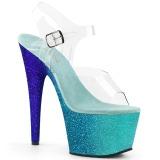 Blå glittriga 18 cm Pleaser ADORE-708OMBRE pole dance skor
