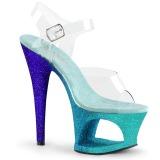 Blå glittriga klackar 18 cm Pleaser MOON-708OMBRE pole dance skor