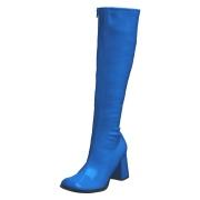 Blå lackstövlar blockklack 7,5 cm - 70 tal hippie boots disco gogo knähöga stövlar