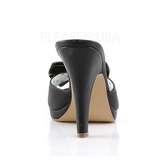 Black 10 cm retro vintage SIREN-03 Pinup Mules Shoes with Bow Tie