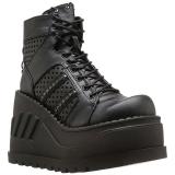 Black 12 cm STOMP-12 lolita shoes gothic wedge platform shoes