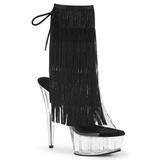Black 15 cm DELIGHT-1017TF womens fringe ankle boots high heels