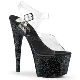 Black 18 cm ADORE-708MG glitter platform high heels shoes
