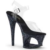Black 18 cm MOON-708LG glitter platform high heels shoes