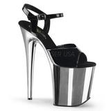 Black 20 cm FLAMINGO-809 High Heels Chrome Platform