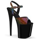 Black 20 cm FLAMINGO-809RBDT Hologram platform high heels shoes