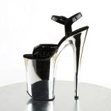 Black 23 cm INFINITY-909 Chrome Platform High Heels