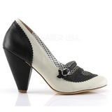 Black 9,5 cm retro vintage POPPY-18 Pinup Pumps Shoes with Low Heels
