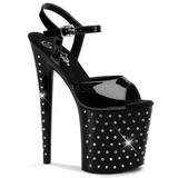 Black Crystal Stone 20 cm STARDUST-809 Platform High Heels Shoes