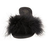 Black Feathers 8 cm BELLE-301F High Women Mules Shoes for Men