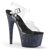 Black Glitter 17 cm ADORE-708LG Platform High Heeled Sandal Shoes