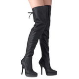 Black Leather 13,5 cm INDULGE-3011 Thigh High Boots for Men