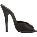 Black Leather 15 cm DOMINA-101 Women Mules Shoes