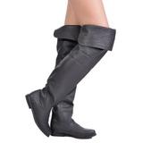 Black Leather 8 cm RAVEN-8826 Overknee Boots Flat Heels