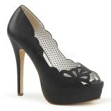 Black Leatherette 13,5 cm BELLA-30 womens peep toe pumps shoes
