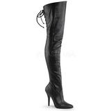 Black Leatherette 13 cm LEGEND-8899 Overknee Boots Flat Heels