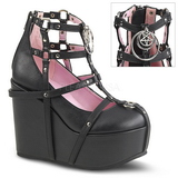 Black Leatherette 13 cm POISON-25-1 lolita ankle boots wedge platform