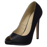 Black Leatherette 13 cm SEXY-42 Low Heeled Classic Pumps Shoes