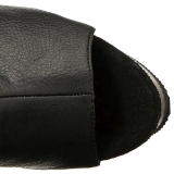Black Leatherette 15 cm DELIGHT-3019 Platform Thigh High Boots