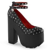 Black Leatherette 16 cm CRAMPS-06 Goth Pumps Shoes