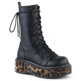 Black Leatherette 5 cm EMILY-350 demonia ankle boots platform