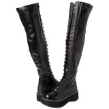 Black Leatherette 5 cm EMILY-375 overknee boots with laces