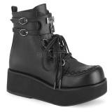 Black Leatherette 6 cm SPRITE-70 demonia ankle boots platform
