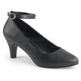 Black Leatherette 8 cm DIVINE-431W Pumps with low heels