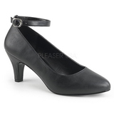 Black Leatherette 8 cm DIVINE-431W Women Pumps Shoes Flat Heels