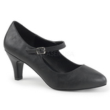 Black Leatherette 8 cm DIVINE-440 Women Pumps Shoes Flat Heels