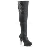 Black Leatherette Wide Calf 13 cm CHLOE-308 Overknee Boots